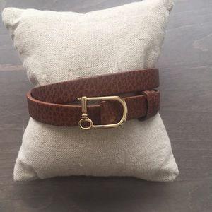 NIP Double leather chestnut/black band